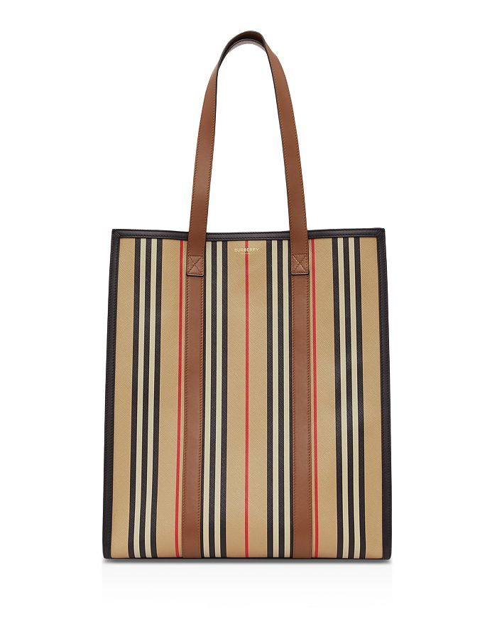 Burberry - Icon Stripe E-Canvas Portrait Tote