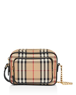 Burberry - Vintage Check & Leather Camera Bag