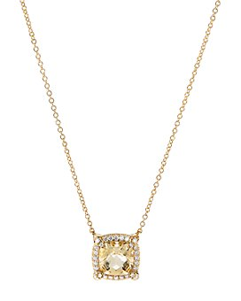 David Yurman - 18K Yellow Gold Chatelaine® Pavé Bezel Citrine & Diamond Pendant Necklace