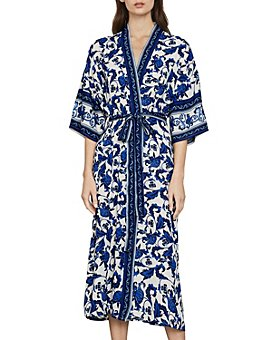 BCBGMAXAZRIA - Floral Print Long Wrap Jacket