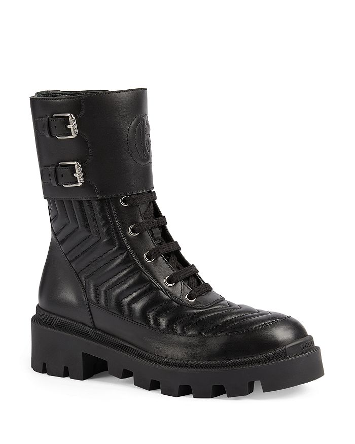 Gucci - Women's Frances Quilted Leather Combat Boots