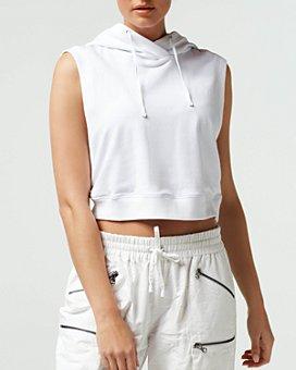Blanc Noir - Mesh Cropped Sleeveless Hoodie Top