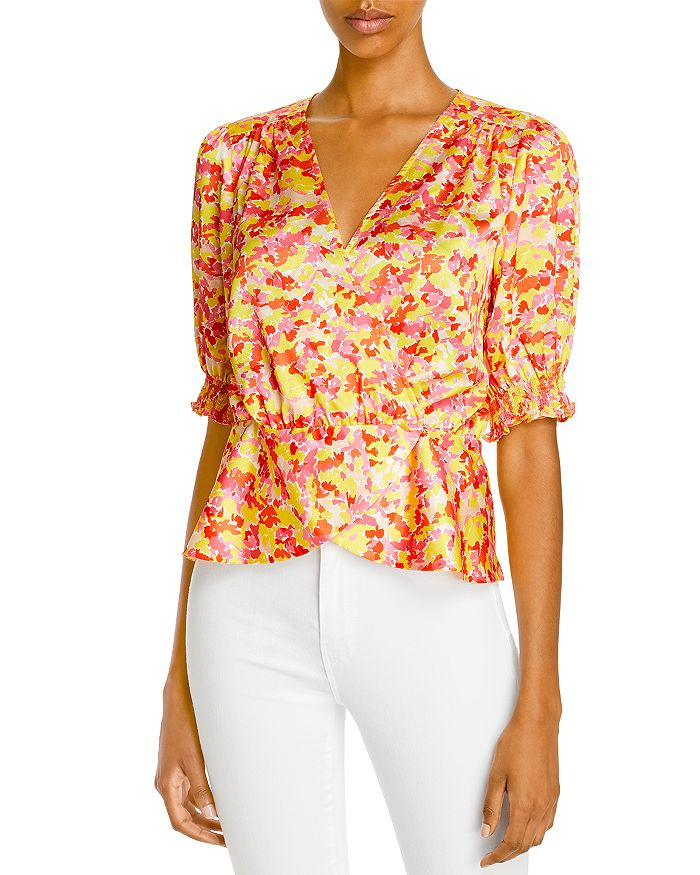 Lini Printed Faux Wrap Blouse - 100% Exclusive In Yellow Multi