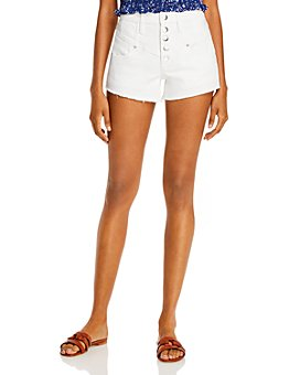 AQUA - Yoke Detail Denim Shorts in White - 100% Exclusive