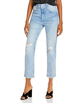 AQUA - Yoke Detail Distressed Jeans in Light Wash - 100% Exclusive