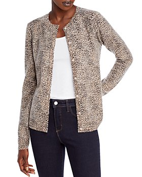 C by Bloomingdale's - Leopard Cashmere Crewneck Cardigan - 100% Exclusive