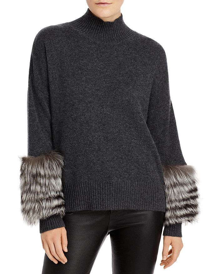 C by Bloomingdale's - Fox Fur Cuff Cashmere Sweater - 100% Exclusive