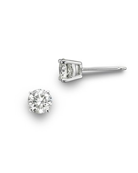 Bloomingdale's - Colorless Certified Round Diamond Stud Earring in 18K White Gold, 0.50 ct. t.w. - 100% Exclusive