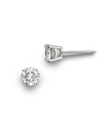 Bloomingdale S Colorless Certified Round Diamond Stud Earring In 18k White Gold 0 50 Ct