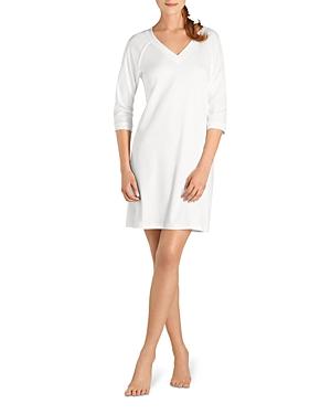 Hanro Pure Essence Raglan Three-Quarter Sleeve Cotton Short Gown