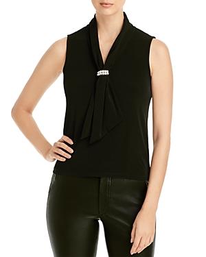 Karl Lagerfeld Paris Draped Embellished Sleeveless Top