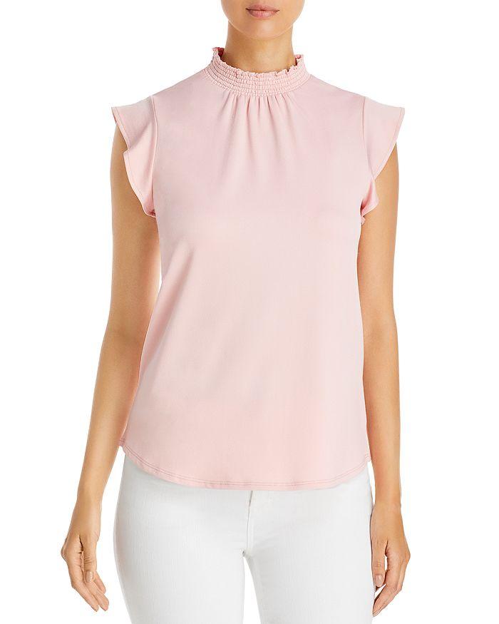 Alison Andrews Smocked Flutter Sleeve Top In Silver/pink
