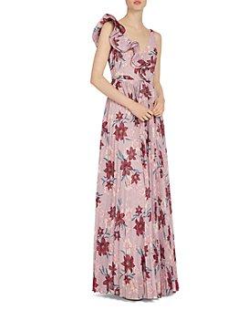 ML Monique Lhuillier - Ruffled Floral Print Gown