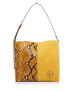 Tory Burch - McGraw Snake-Embossed Leather & Suede Slouchy Hobo