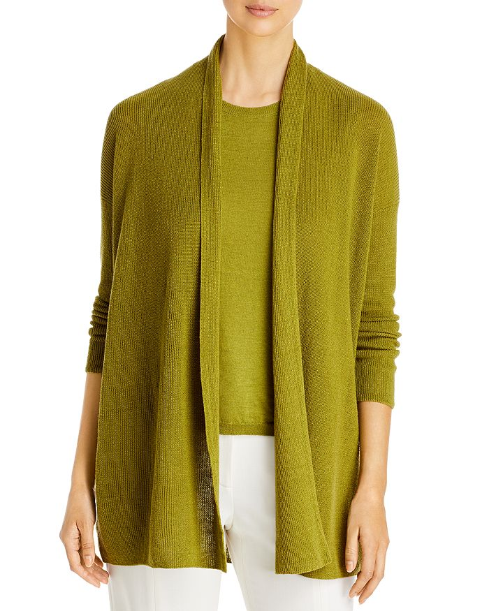 Eileen Fisher OPEN FRONT ORGANIC LINEN & COTTON CARDIGAN