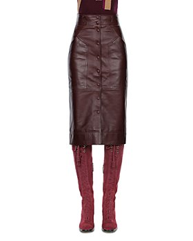 Alberta Ferretti - Button Front Leather Midi Skirt