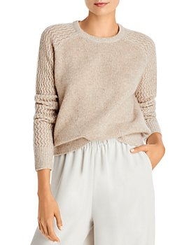 AQUA - Shell Stitch Sleeve Cashmere Sweater - 100% Exclusive