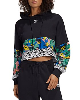 Adidas - Mixed Print Cropped Logo Hoodie