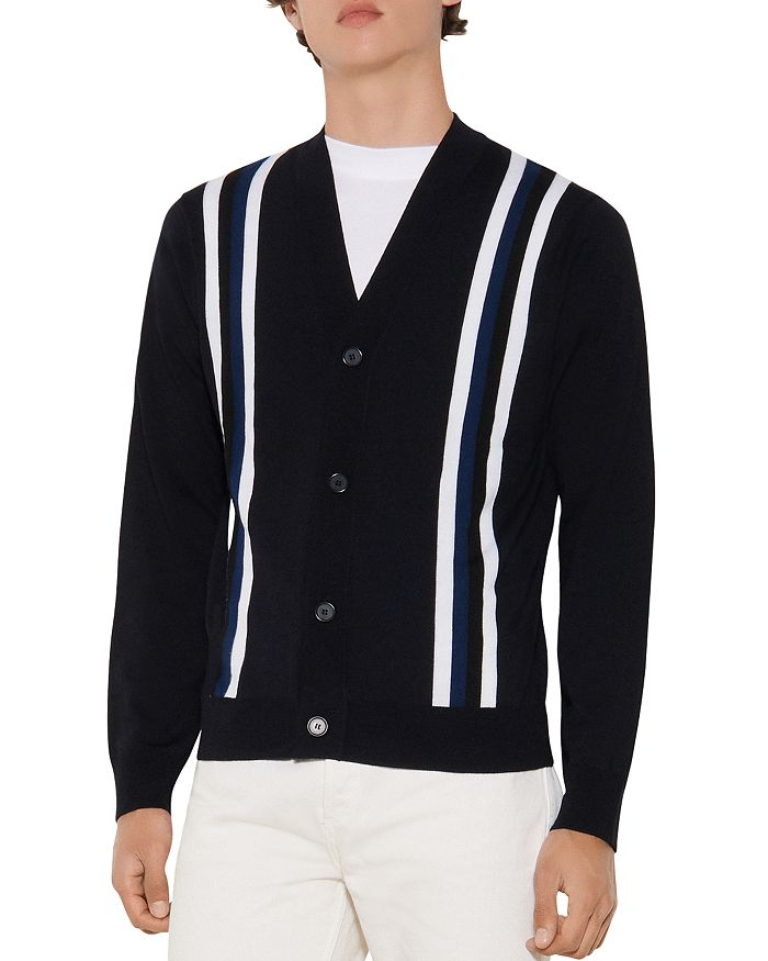Sandro - College Wool Striped Button Cardigan