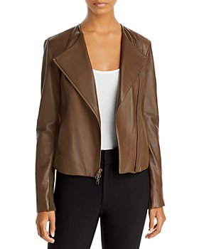 Vince - Rib Panel Leather Jacket