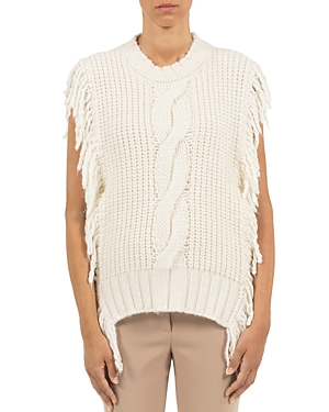 Peserico Wools CABLE KNIT FRINGE TRIM SWEATER