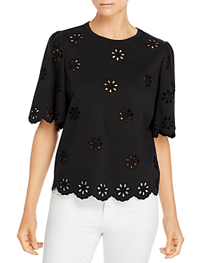 La Vie Rebecca Taylor Embroidered Eyelet Top-Women