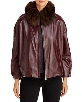 Maximilian Furs - Fur Collar Leather Jacket - 100% Exclusive