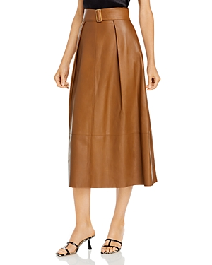 Vince Belted Leather Skirt-Women