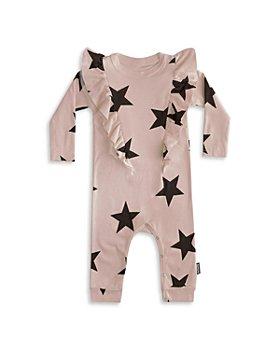 NUNUNU - Girls' Cotton Ruffled Star Print Coverall - Baby