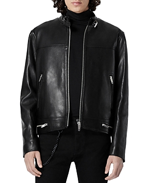 The Kooples Black Leather Jacket With Biker Collar-Men