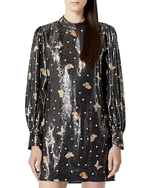 The Kooples SHORT SILK-BLEND LAME BUTTERFLY DRESS