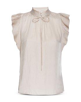 FRAME - Pleated Sleeve High Neck Top