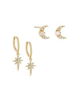 Adinas Jewels - Cubic Zirconia & Opal Star & Moon Earrings, Set of 2