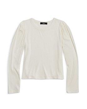 AQUA - Girls' Puff Sleeve Rib Knit Top - Big Kid