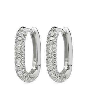 Chain Link Pave Oval Huggie Hoop Earrings
