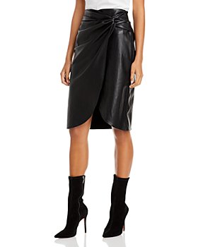 Lucy Paris - Faux Wrap Faux Leather Skirt