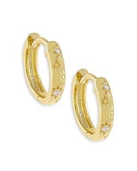 Adinas Jewels - Pavé Mini Starburst Huggie Hoop Earrings