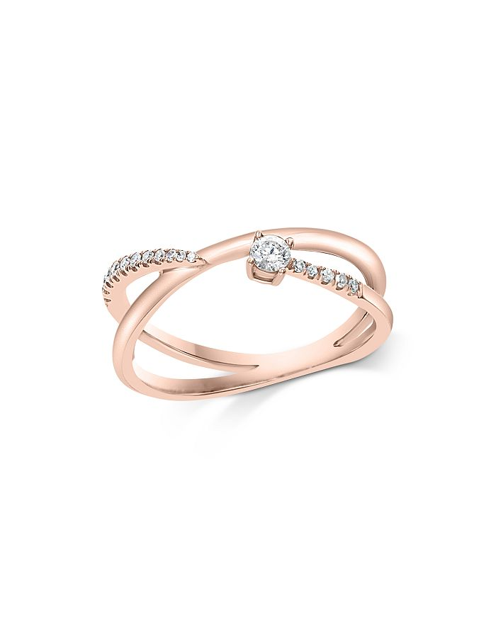Bloomingdale's - Diamond Crossover Statement Ring in 14K Rose Gold, 0.15 ct. t.w. - 100% Exclusive