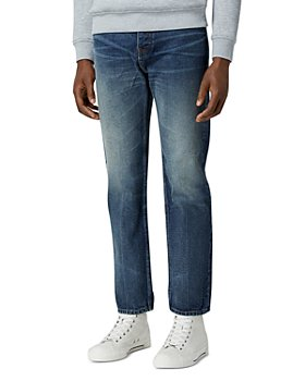 The Kooples - Cotton Blend Faded Straight Jeans in Blue