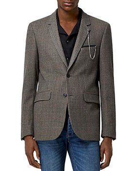 The Kooples - Brown Checked Wool Blend Formal Jacket