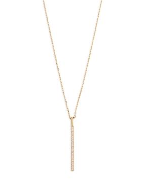 Aqua Cubic Zirconia Vertical Bar Pendant Necklace, 16-18