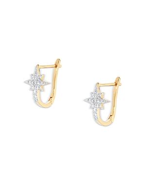 Aqua Crystal Star Leverback Earrings