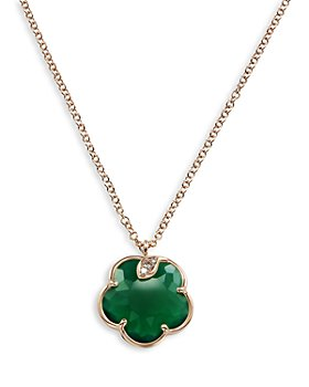 "Pasquale Bruni - 18K Rose Gold Petit Joli Green Agate and Diamond Pendant Necklace, 16.75"""