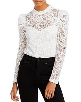 AQUA - Lace Puff Sleeve Top - 100% Exclusive