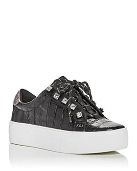 KURT GEIGER LONDON - Women's Liviah Croc Embossed Low Top Platform Sneakers