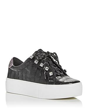 Kurt Geiger London Women's Liviah Croc Embossed Low Top Platform Sneakers
