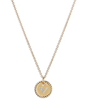 David Yurman - V Initial Charm Necklace with Diamonds in 18K Gold, 16-18""