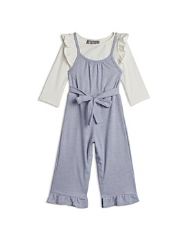 Pippa & Julie - Girls' Long Sleeve Top & Smocked Overalls Set - Little Kid