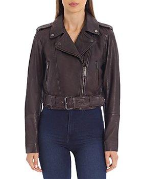 Avec Les Filles - Cropped Leather Moto Jacket