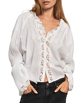 Free People - Clemence Lace Trim Button Down Shirt